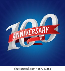 100 years anniversary celebration logotype. 100th silver number with red ribbons on blue background