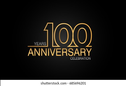 100 years anniversary celebration logotype. anniversary logo with golden and silver color isolated on black background, vector design for celebration, invitation card, and greeting card