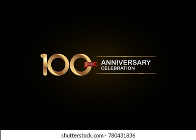 100 Years Anniversary Celebration Logotype with Golden, Silver and Red Ribbon Isolated on Black Background. Vector Design for Invitation Card, Greeting Card, Banner.