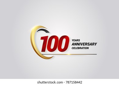 100 Years Anniversary Celebration Logotype. Red Elegant Vector Illustration with Gold Swoosh, Isolated on Black Background can be use for Celebration, Invitation, and Greeting card