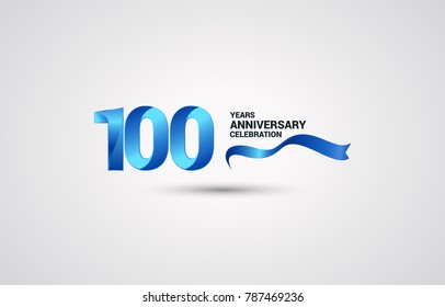 100 Years Anniversary celebration logotype colored with shiny blue, using ribbon and isolated on white background