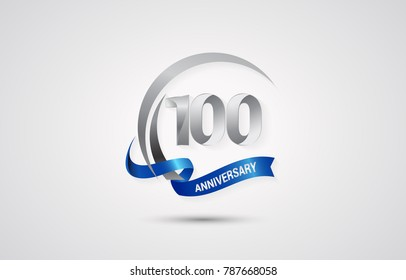 100 Years Anniversary Celebration Logotype. Silver Elegant Vector Illustration  with Swoosh,  Isolated on white Background can be use for Celebration, Invitation, and Greeting card