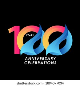 100 Years Anniversary Celebration Number Vector Template Design Illustration