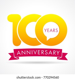 100 years anniversary communication logo. 100th year birthday logotype label, yellow vector number sign and pink ribbon isolated