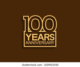 100 years anniversary design line style with square golden color for celebration event