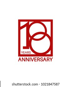 100 years anniversary design logotype with red color in square isolated on white background for celebration