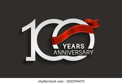 100 years anniversary design with silver color and red ribbon isolated on black background for celebration event