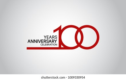 100 years anniversary design with simple line red color isolated on white background for celebration
