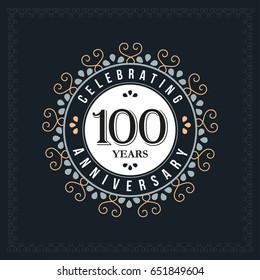 100 years anniversary design template. Vector and illustration. celebration anniversary logo. classic, vintage style