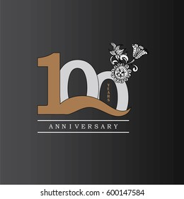 100 years anniversary with doodle flowers.vector illustration.eps10.