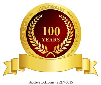 100 years anniversary golden color seal and ribbon graphic isolated on white