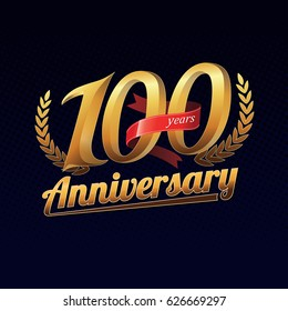 100 Years Anniversary Golden Logo Celebration with Red Ribbon