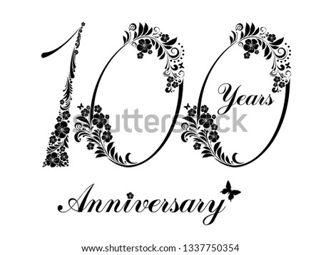 100 Years Anniversary Happy Birthday Card Celebration Background With Number Hundred And Place For