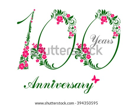 100 Years Anniversary Happy Birthday Card Celebration Background With Number One Hundredth And Place