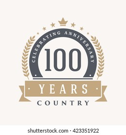 100 years Anniversary Label, Sticker or Badge on Background. Vector - illustration