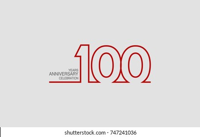 100 years anniversary linked logotype with red color isolated on white background for company celebration event