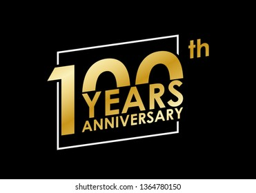 100 years Anniversary logo. 100th Birthday golden badge. Modern icon or label design for wedding, corporate invitation, celebrating, party, business event. Vector illustration.