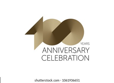 100 Years Anniversary Logo Celebration. 100 jubilee design. Gold number 100.