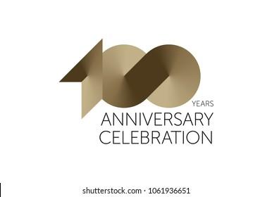 100 Years Anniversary Logo Celebration. 100 jubilee design. Gold number 100.