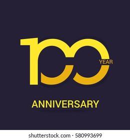 100 Years Anniversary  Logo Celebration,Yellow Flat Design Isolated on Purple Background