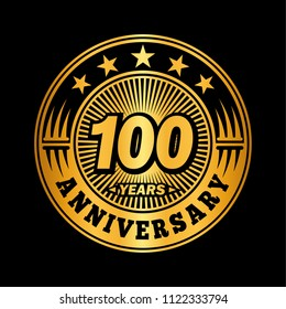 100 years anniversary. Anniversary logo design. Vector and illustration.