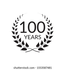 100 years anniversary logo with laurel wreath frame. 100th birthday celebration icon or badge. Vector illustration.