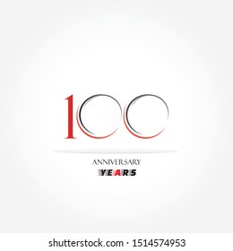 100 years anniversary logo template isolated on white, black, red and white anniversary icon label with ribbon, twenty year birthday seal symbol