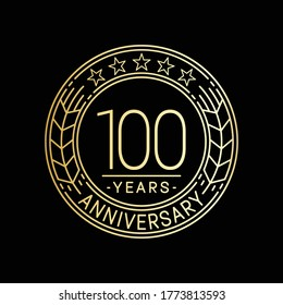 100 years anniversary logo template. 100th line art vector and illustration.