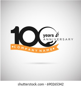 100 Years Anniversary Logo Template with ribbon