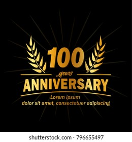 100 years anniversary logo. Vector and illustration.