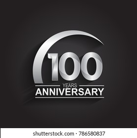 100 years anniversary logotype design with silver color isolated on black background for company celebration