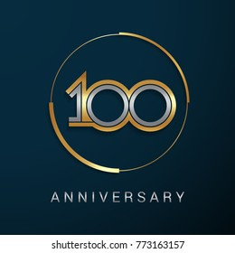 100 Years Anniversary Logotype with  Gold and Silver Multi Linear Number in a Golden Circle , Isolated on Dark Background