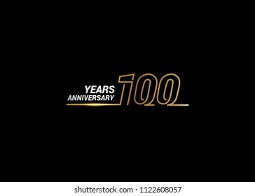 100 Years Anniversary logotype with golden colored font numbers made of one connected line, isolated on white background for company celebration event, birthday