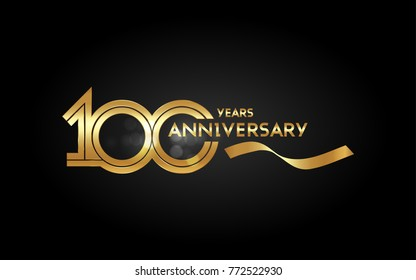 100 Years Anniversary Logotype with  Golden Multi Linear Number and Gold Ribbon, Isolated on Black Background