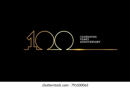 100 Years Anniversary logotype with golden colored font numbers made of one connected line, isolated on black background for company celebration event, birthday