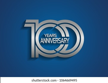100 years anniversary logotype with linked multiple line silver color isolated on blue background
