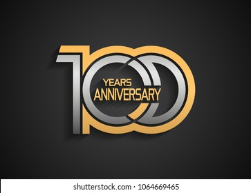 100 years anniversary logotype with multiple line silver and golden color isolated on black background for celebration event