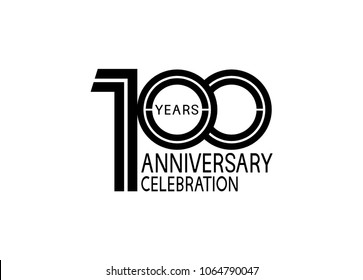 100 years anniversary logotype with multiple line black color isolated on white background for celebration event