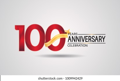100 years anniversary logotype with red color and golden ribbon isolated on white background for celebration event