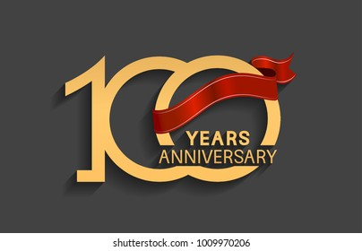 100 years anniversary logotype with red ribbon and golden color for celebration event
