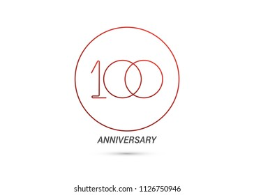 100 Years Anniversary logotype with rounded and simple red colored font numbers isolated on white background for company celebration event, birthday