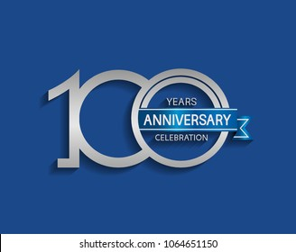 100 years anniversary logotype with  simple silver color and blue ribbon isolated on blue background for celebration event