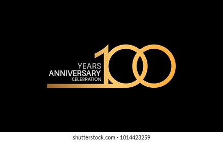 100 years anniversary logotype with single line golden and silver color for celebration