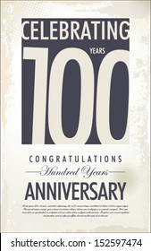 100 years anniversary retro background