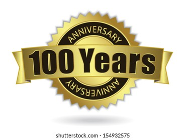 """100 Years Anniversary"" - Retro Golden Ribbon, EPS 10 vector illustration"