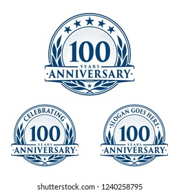 100 years anniversary set. 100th celebration logo collection. Vector and illustration.