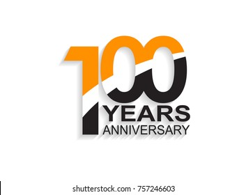 100 years anniversary simple design with white slash in orange and black number for celebration event