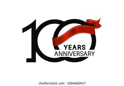 100 years anniversary simple logotype with black color with elegant red ribbon isolated on white background for celebration event
