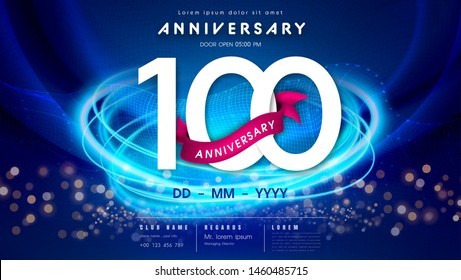 100 years anniversary template on dark blue Abstract futuristic space background. 100th modern technology design celebrating numbers with Hi-tech network digital technology concept design elements.
