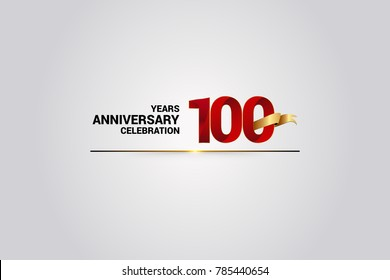 100 Years anniversary using red elegant number isolated on white background, with golden ribbon ca be use as celebration event logo